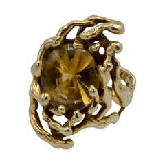 Graboswki Citrine and 14 Karat Gold Branch Ring