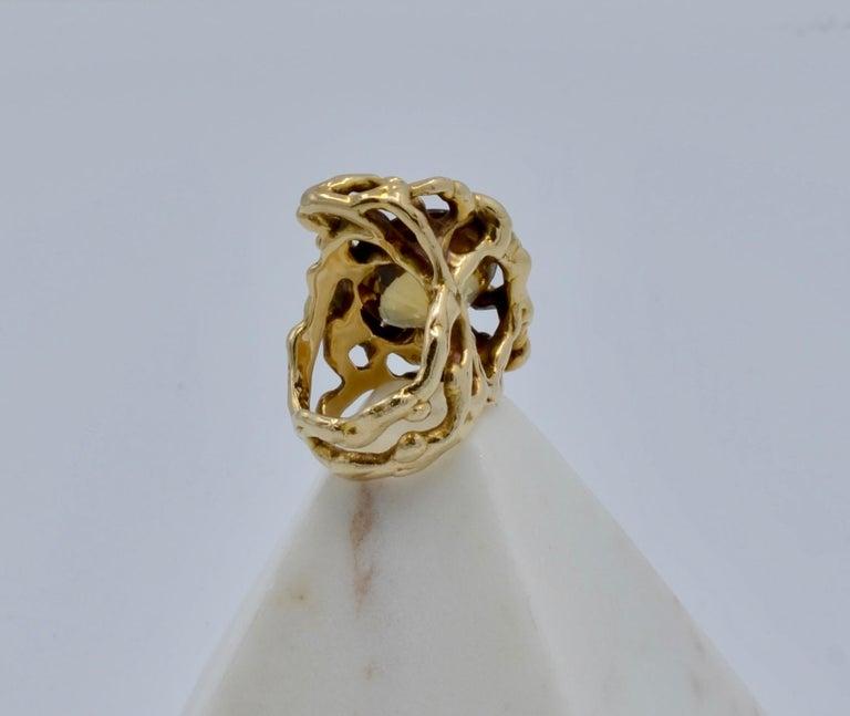 Round Cut Grabowski Citrine and 14 Karat Gold Branch Ring For Sale
