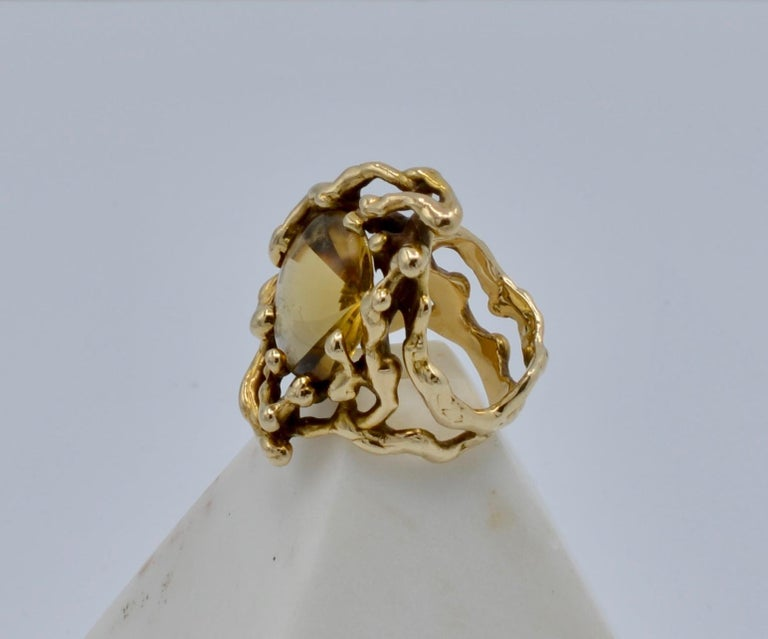Grabowski Citrine and 14 Karat Gold Branch Ring In Excellent Condition For Sale In Berkeley, CA