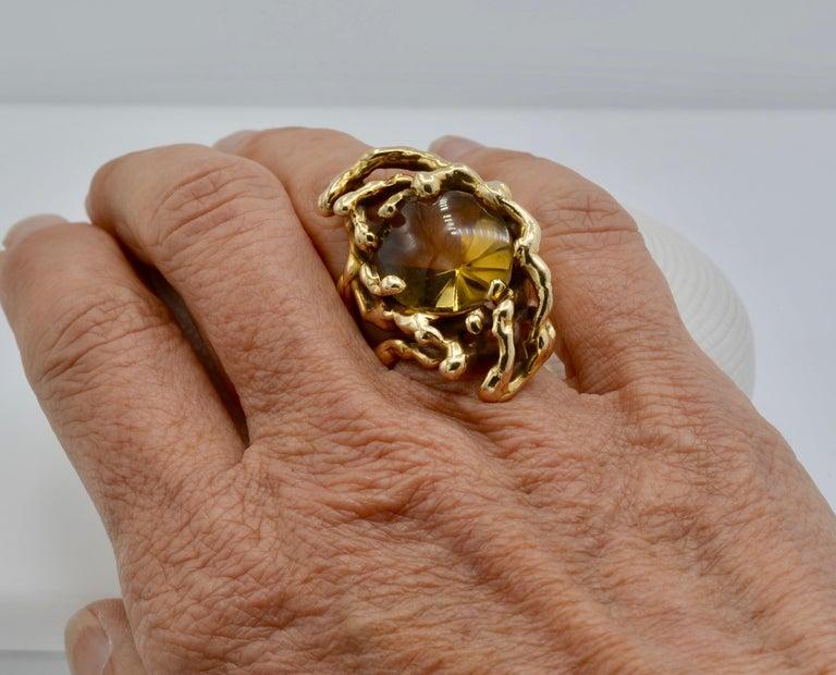 Women's or Men's Grabowski Citrine and 14 Karat Gold Branch Ring For Sale
