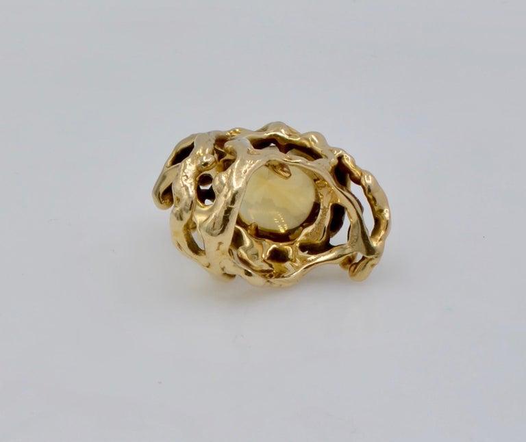 Grabowski Citrine and 14 Karat Gold Branch Ring For Sale 1