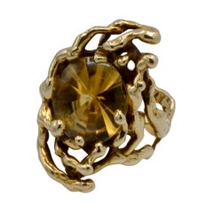 Grabowski Citrine and 14 Karat Gold Branch Ring