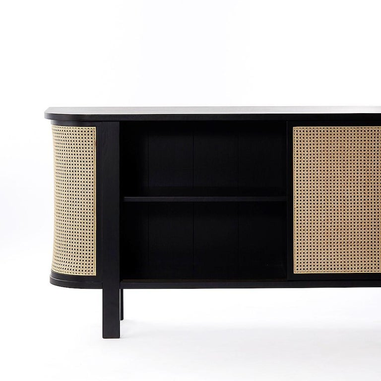 Modern Grace Buffet, Contemporary Rattan Sideboard in Black Lacquer For Sale