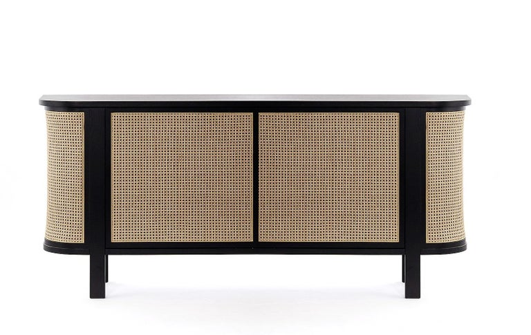 Asian Grace Buffet, Contemporary Rattan Sideboard in Black Lacquer For Sale
