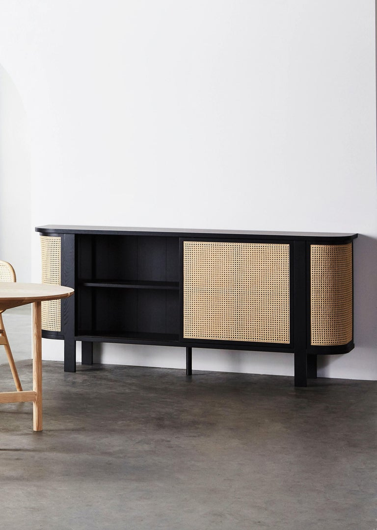 Grace Buffet, Contemporary Rattan Sideboard in Black Lacquer In New Condition For Sale In New York, NY