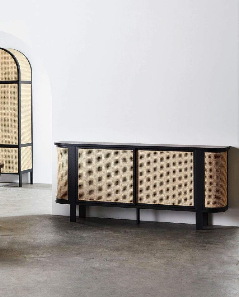 Cane Grace Buffet, Contemporary Rattan Sideboard in Black Lacquer For Sale