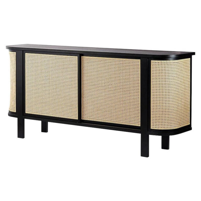 Grace Buffet, Contemporary Rattan Sideboard in Black Lacquer For Sale
