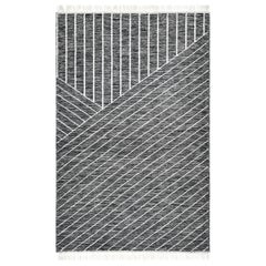 Grace, Contemporary Flat-Weave Handwoven Area Rug, Black