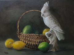 Parrot with Citrus, Painting, Oil on Canvas
