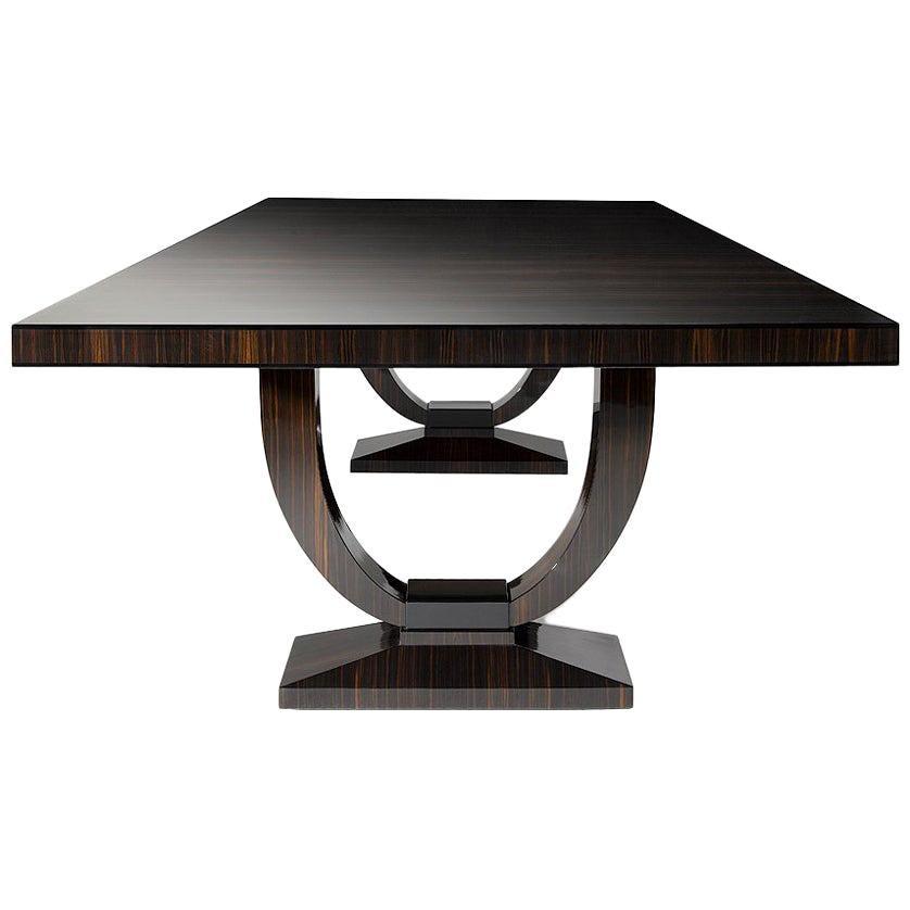"Davidson's Art Deco, Rectangular ""Grace"" Dining Table, Brown Macassar Ebony Wood"