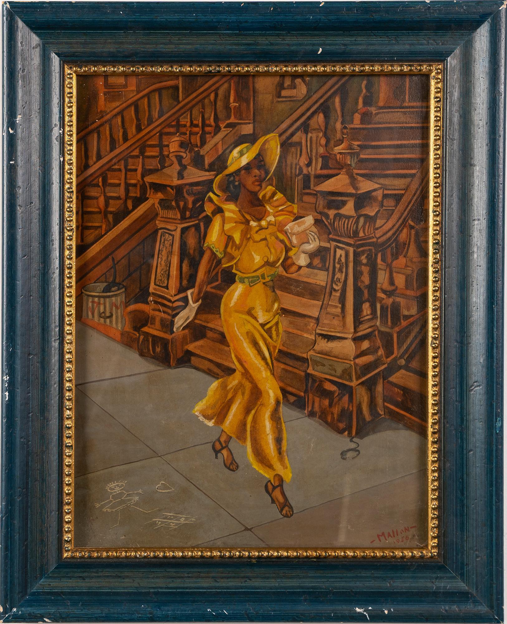 Vintage New York City Street Scene WPA Woman Walking Portrait  Oil Painting