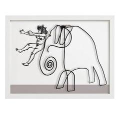 Grace Sliding Down The Nose of Calders Elephant, Limited Edition, Signed, Framed