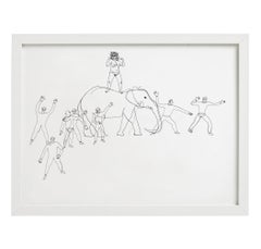 Strong Woman on Calder's Elephant, Limited Edition, Figurative, Signed, Framed