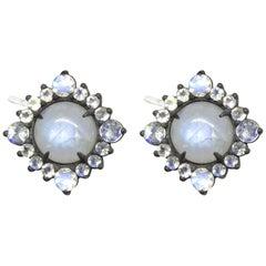 Grace Moonstone Silver Stud Earrings