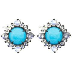 Grace Sleeping Beauty Turquoise Silver Stud Earrings