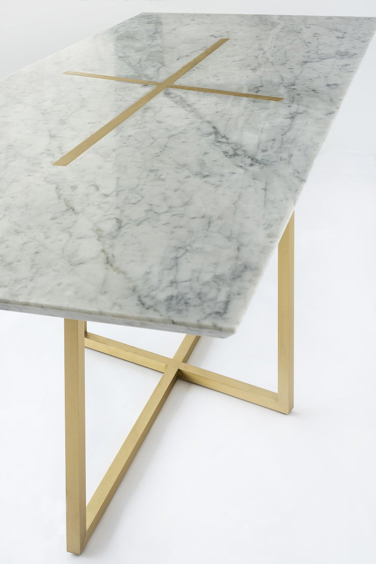 Other Grace Table in Brass and Carrara Marble, Made in Italy For Sale
