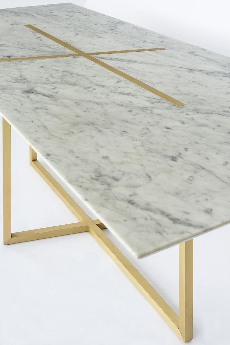 Italian Grace Table in Brass and Carrara Marble, Made in Italy For Sale