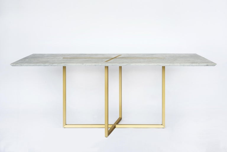 Grace Table in Brass and Carrara Marble, Made in Italy In New Condition For Sale In Firenze, IT