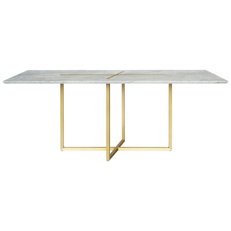 Grace Table in Brass and Carrara Marble, Made in Italy For Sale
