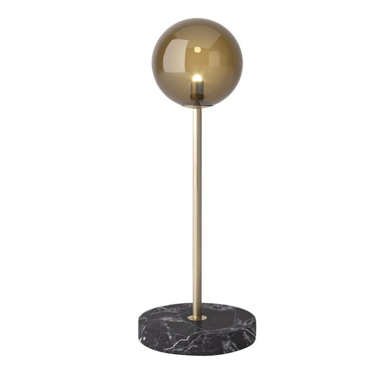 Italian Grace Table Lamp With Marquina Marble Base For Sale