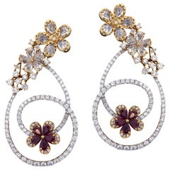 Graceful 18 Karat White Gold, Diamond and Ruby Earring
