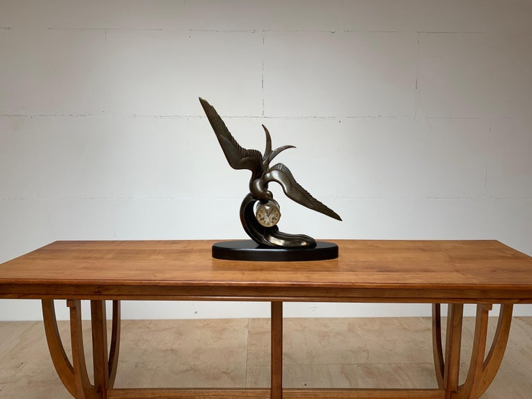 Bronzed Graceful Art Deco Table / Mantel Clock w Large Stylized Swallow Bird Sculpture For Sale