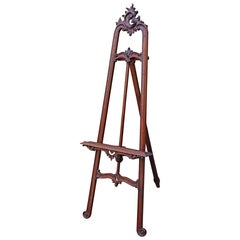 Graceful & Hand Carved 20th Century Mahogany Floor Easel / Artist Display Stand