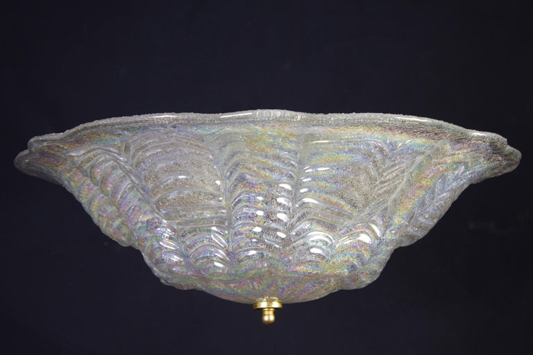Graceful Italian Iridescent Murano Glass Ceiling Lights, 1960 In Excellent Condition For Sale In Rome, IT