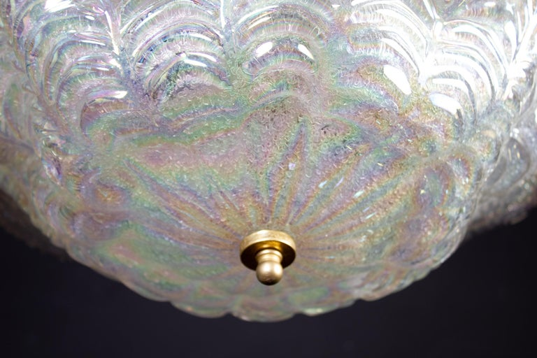 Graceful Italian Iridescent Murano Glass Ceiling Lights, 1960 For Sale 4