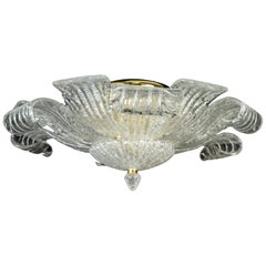 Graceful Italian Murano Glass Leave Flush Mount or Ceiling Light