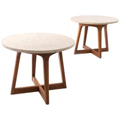 Graceful Pair of Round Marble and Walnut End Tables Itso Adrian Pearsall, 1960's