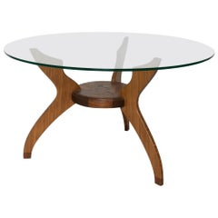Graceful Sculptural Side Round Table in Walnut and Bamboo by Ambianic