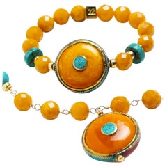 Gracia Golden Jade and Amber 14K Gold Nepalese Bracelet
