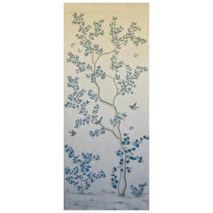 Gracie Chinoiserie Indigo Garden Blue and White Pattern Printed Linen Fabric