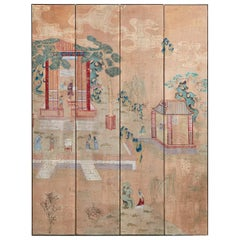 Gracie Chinoiserie Style Four-Panel Folding Wallpaper Screen