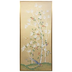 Gracie Hand Painted Silk Chinoiserie Panel with Gold Leaf Frame '2 of 2'