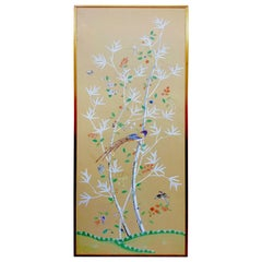 Gracie Handpainted Silk Chinoiserie Panel with Goldleaf Frame '1 of 2'