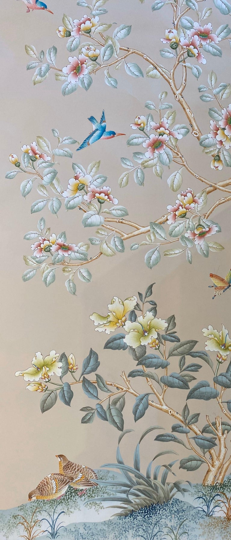 Gracie Handpainted Wallpaper, Two Beautiful Panels For Sale 5