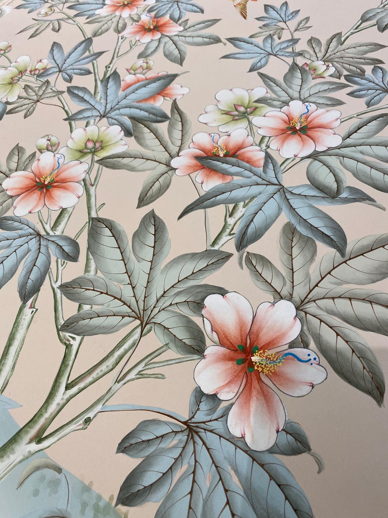 Gracie Handpainted Wallpaper, Two Beautiful Panels For Sale 6