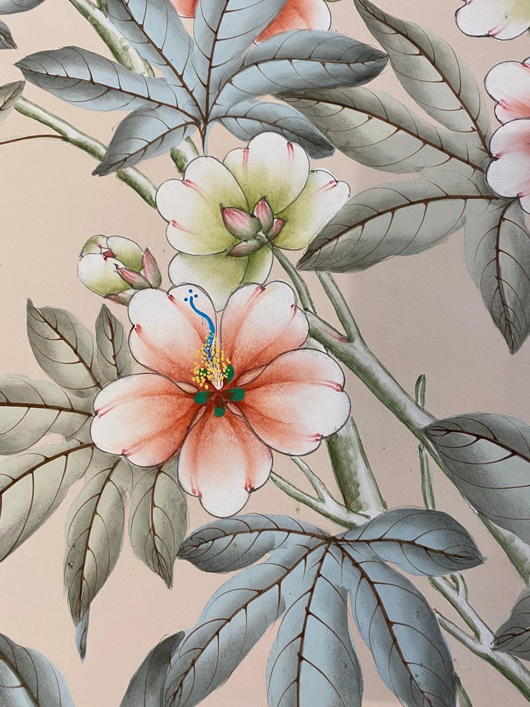 Gracie Handpainted Wallpaper, Two Beautiful Panels For Sale 7