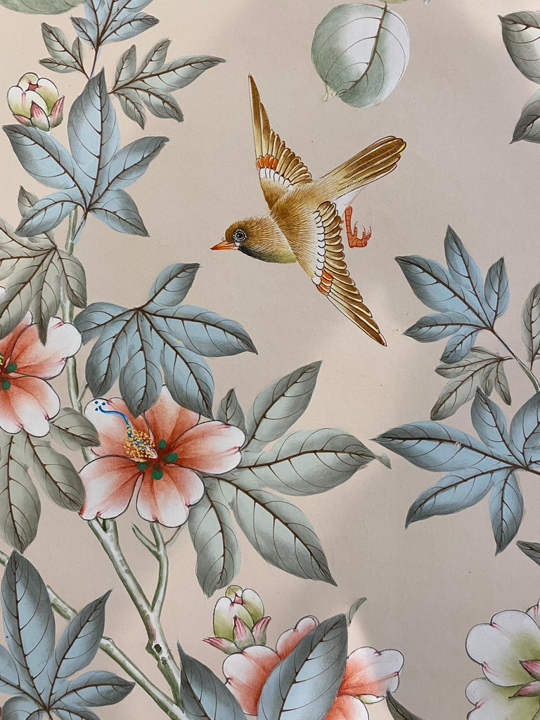 Gracie Handpainted Wallpaper, Two Beautiful Panels For Sale 8