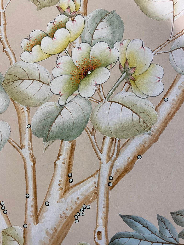 Gracie Handpainted Wallpaper, Two Beautiful Panels For Sale 9