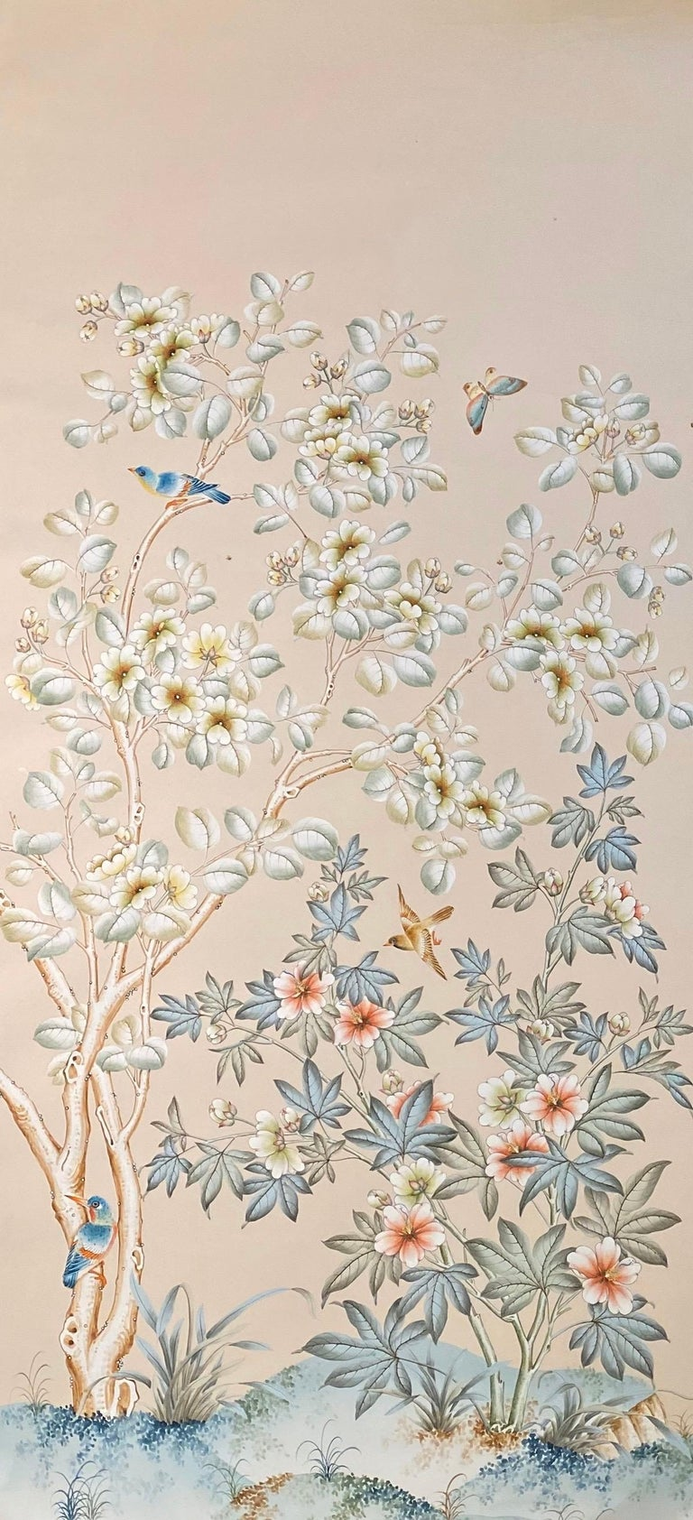Two gorgeous and unique hand painted panels by Gracie, the firm known for its exquisitely detailed wallpaper, since 1898.