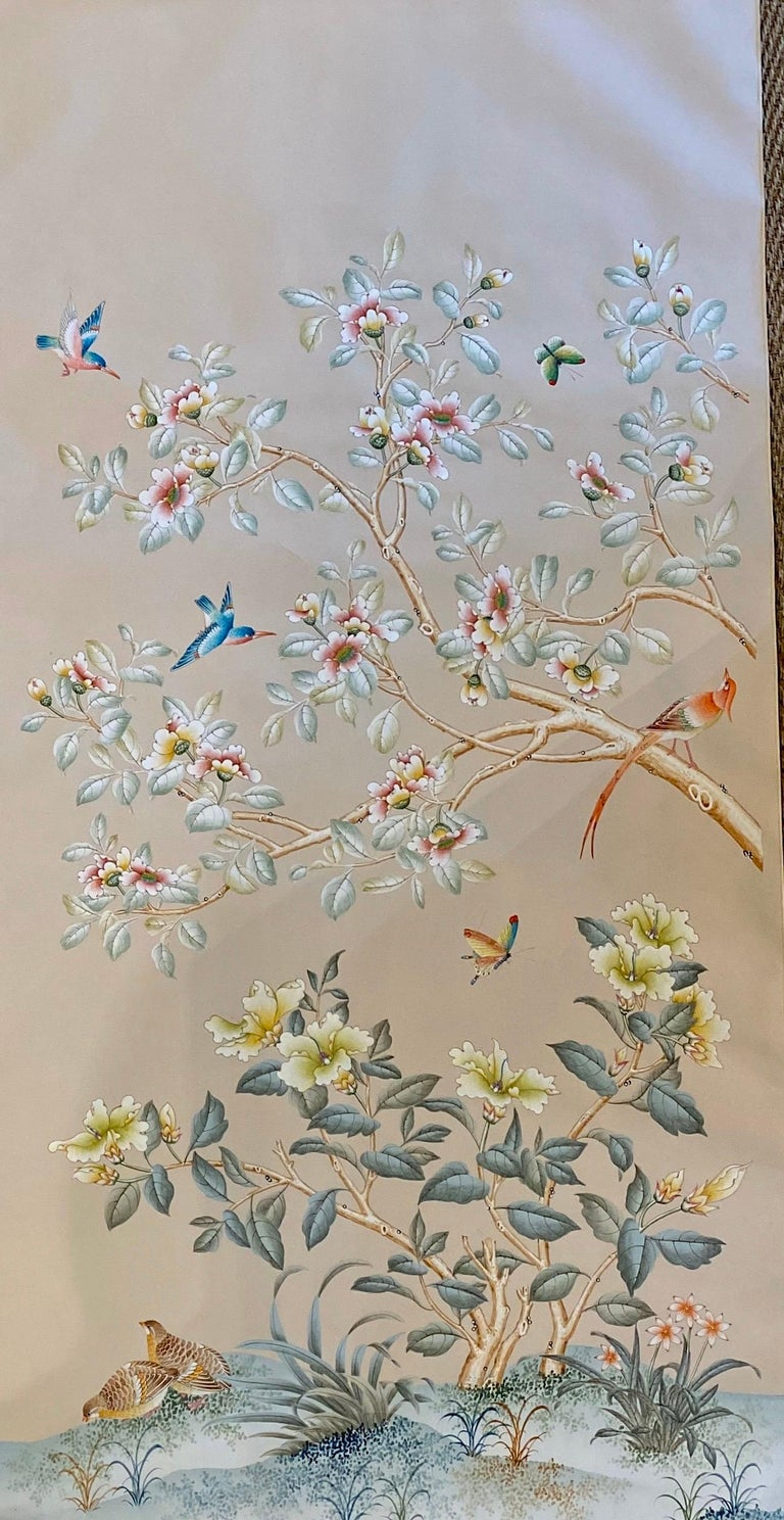 Chinoiserie Gracie Handpainted Wallpaper, Two Beautiful Panels For Sale