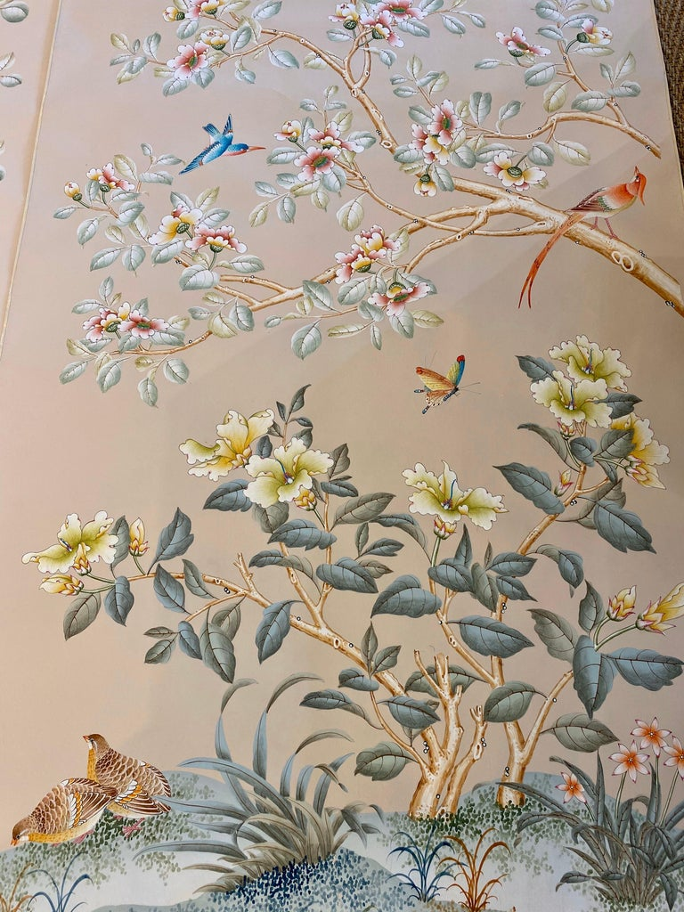 Hong Kong Gracie Handpainted Wallpaper, Two Beautiful Panels For Sale