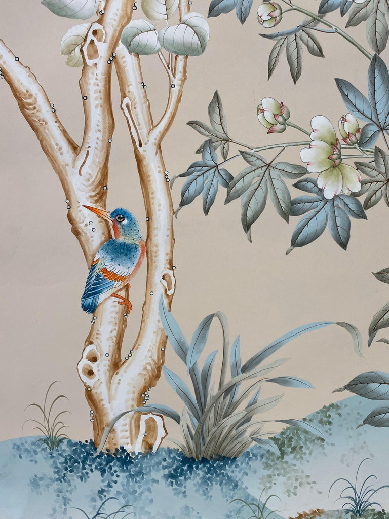 Gracie Handpainted Wallpaper, Two Beautiful Panels In Good Condition For Sale In New York, NY