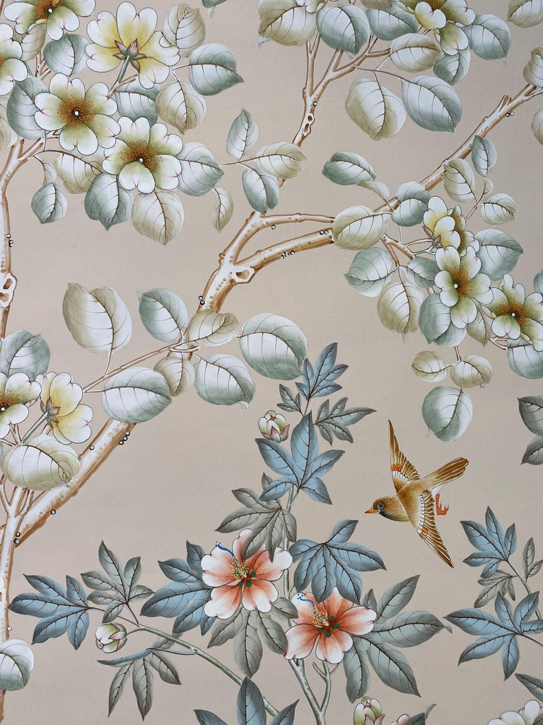 Late 20th Century Gracie Handpainted Wallpaper, Two Beautiful Panels For Sale