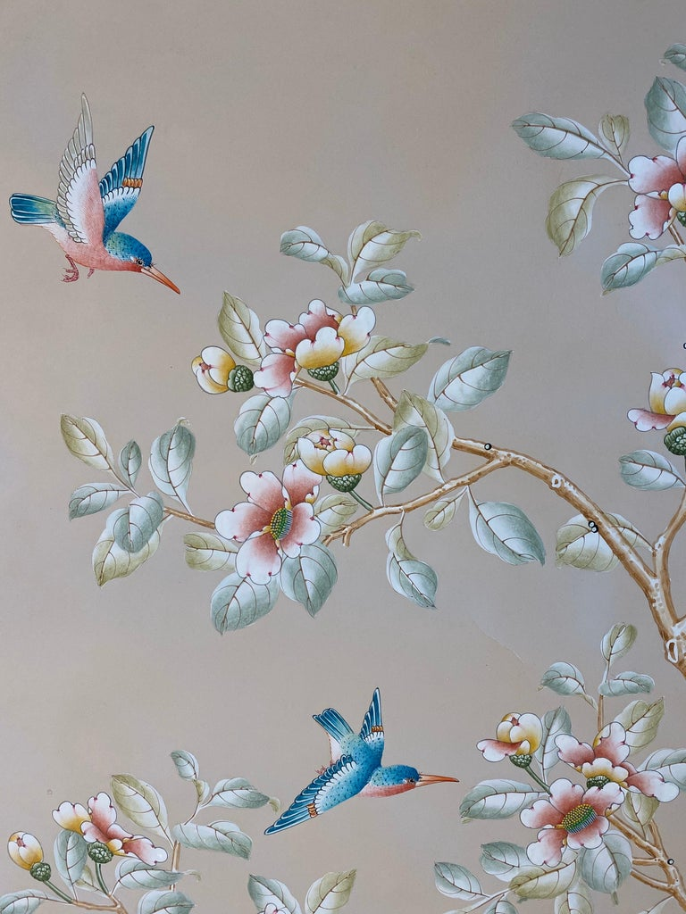 Gracie Handpainted Wallpaper, Two Beautiful Panels For Sale 1