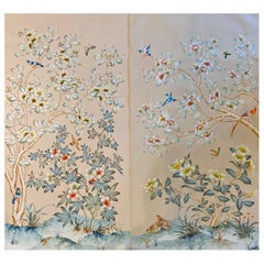 Gracie Handpainted Wallpaper, Two Beautiful Panels