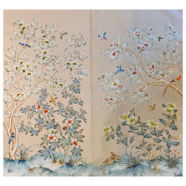 Gracie Handpainted Wallpaper, Two Beautiful Panels For Sale